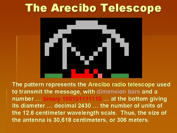 The Arecibo Telescope The pattern represents the Arecibo radio telescope used to transmit the