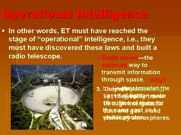 """Operational Intelligence § In other words, ET must have reached the stage of """"operational"""""""