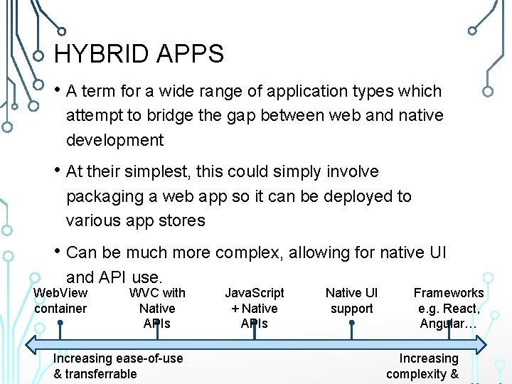 HYBRID APPS • A term for a wide range of application types which attempt