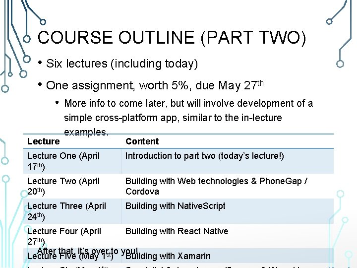 COURSE OUTLINE (PART TWO) • Six lectures (including today) • One assignment, worth 5%,