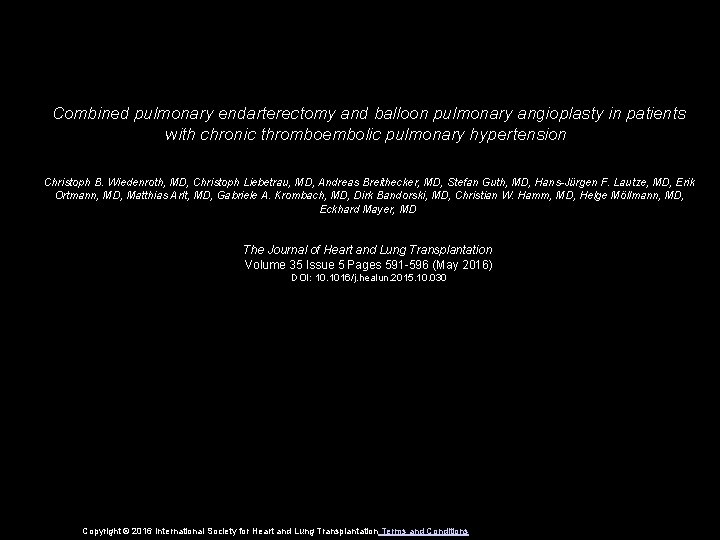 Combined pulmonary endarterectomy and balloon pulmonary angioplasty in patients with chronic thromboembolic pulmonary hypertension