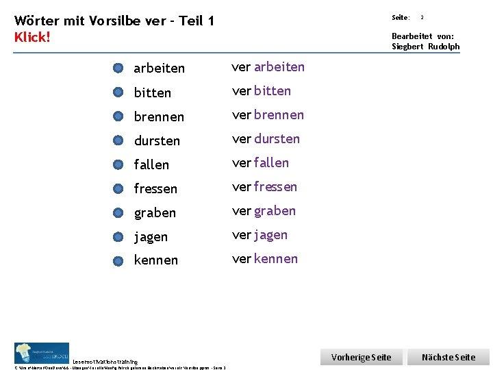 Übungsart: Wörter mit Vorsilbe ver – Teil 1 Seite: Klick! 2 Bearbeitet von: Siegbert