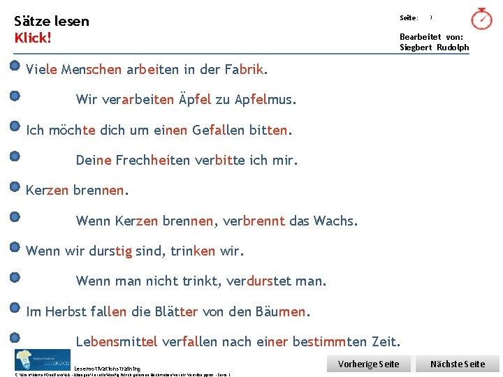 Übungsart: Sätze lesen Seite: Klick! Bearbeitet von: Siegbert Rudolph 3 Viele Menschen arbeiten in