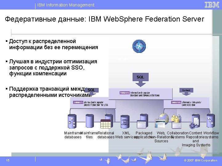 IBM Information Management Федеративные данные: IBM Web. Sphere Federation Server § Доступ к распределенной