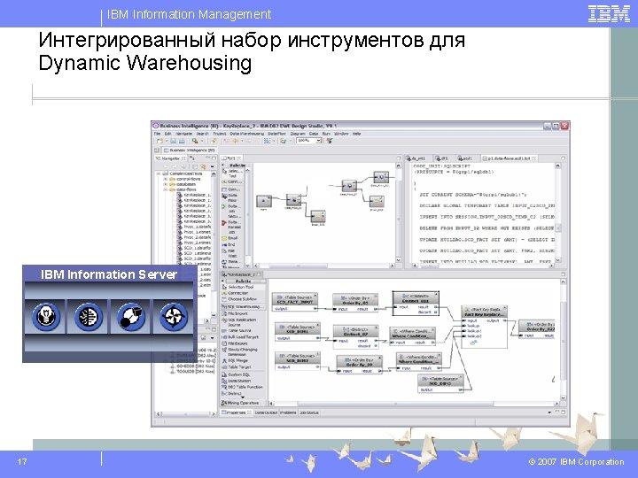 IBM Information Management Интегрированный набор инструментов для Dynamic Warehousing IBM Information Server 17 ©