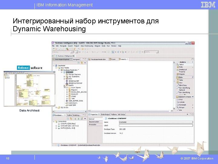 IBM Information Management Интегрированный набор инструментов для Dynamic Warehousing Data Architect 18 © 2007
