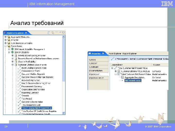 IBM Information Management Анализ требований 29 © 2007 IBM Corporation