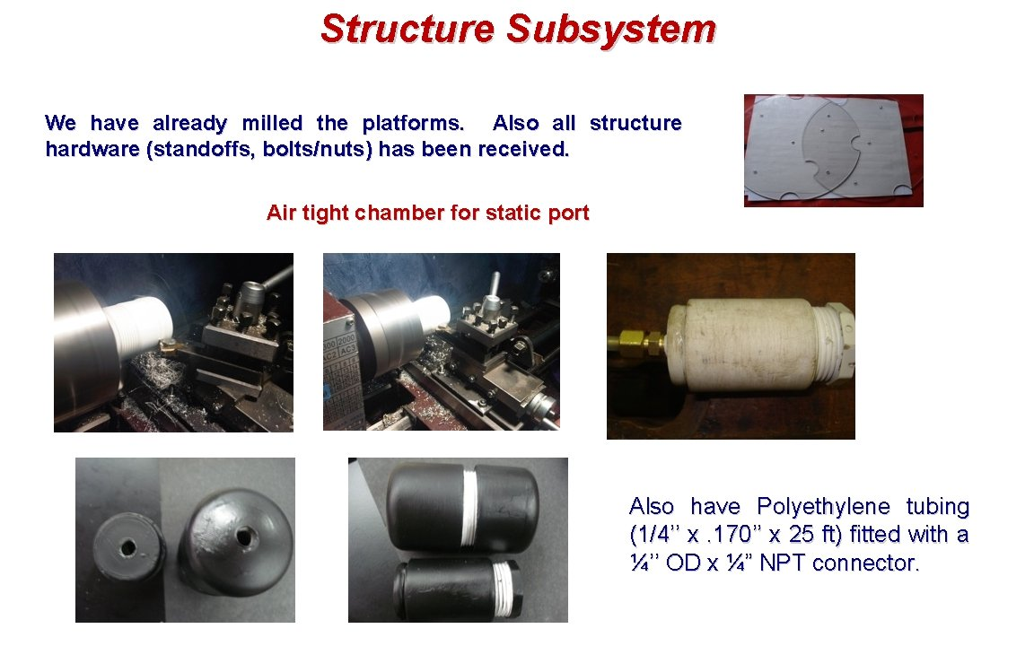 Structure Subsystem We have already milled the platforms. Also all structure hardware (standoffs, bolts/nuts)