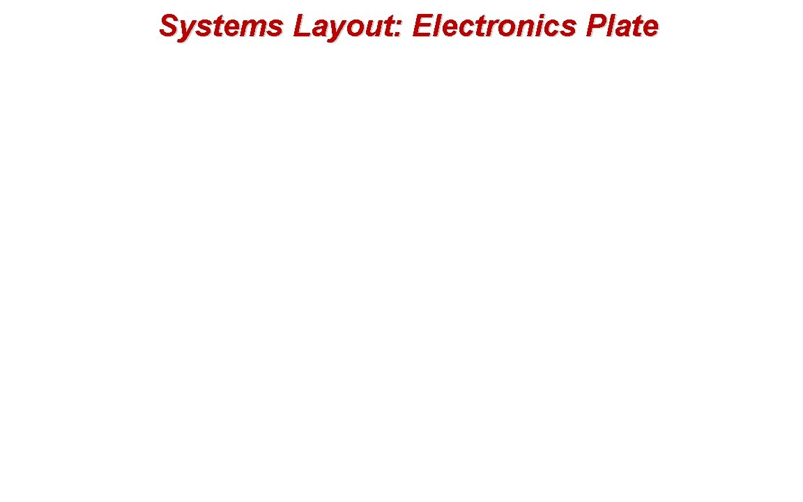 Systems Layout: Electronics Plate