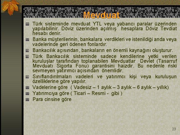 Mevduat Türk sisteminde mevduat YTL veya yabancı paralar üzerinden yapılabilinir. Döviz üzerinden açılmış hesaplara