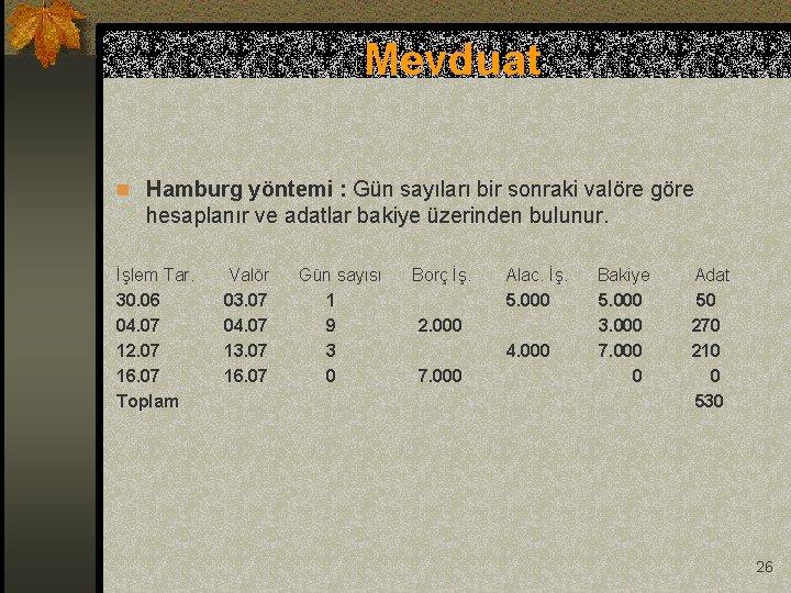 Mevduat n Hamburg yöntemi : Gün sayıları bir sonraki valöre göre hesaplanır ve