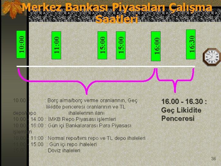 10. 00 : Borç alma/borç verme oranlarının, Geç likidite penceresi oranlarının ve TL depo/repo