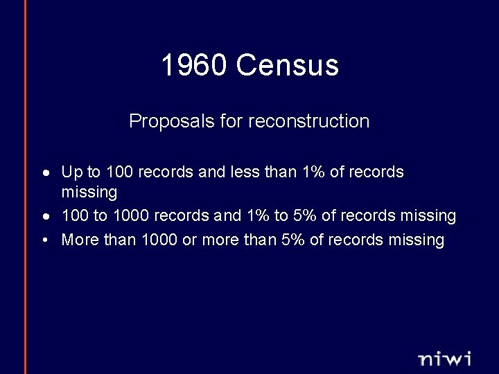1960 Census Proposals for reconstruction · Up to 100 records and less than 1%