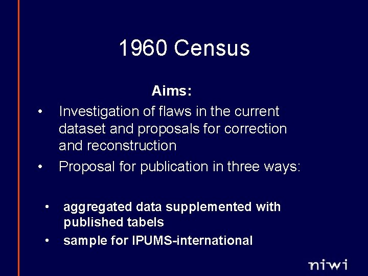 1960 Census Aims: Investigation of flaws in the current dataset and proposals for correction