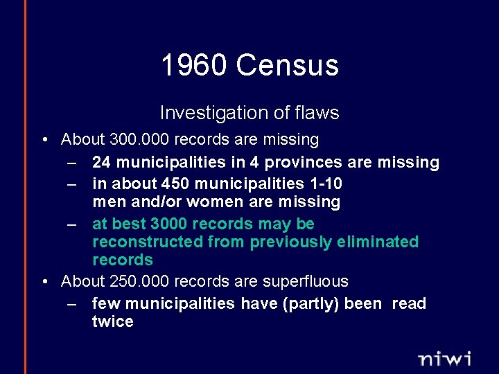 1960 Census Investigation of flaws • About 300. 000 records are missing – 24