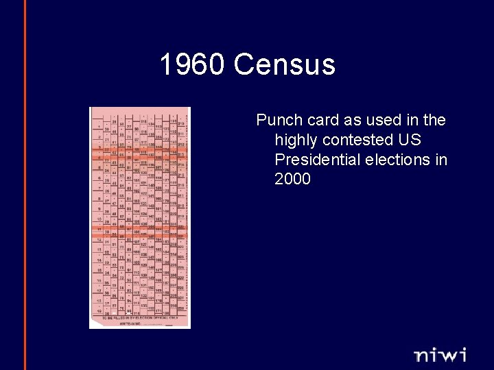1960 Census Punch card as used in the highly contested US Presidential elections in