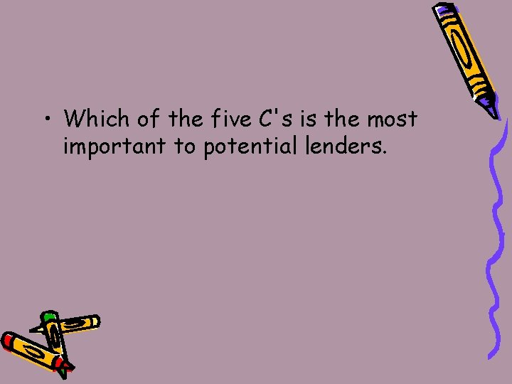 • Which of the five C's is the most important to potential lenders.