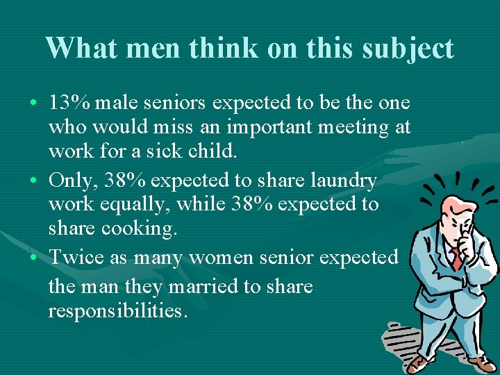 What men think on this subject • 13% male seniors expected to be the