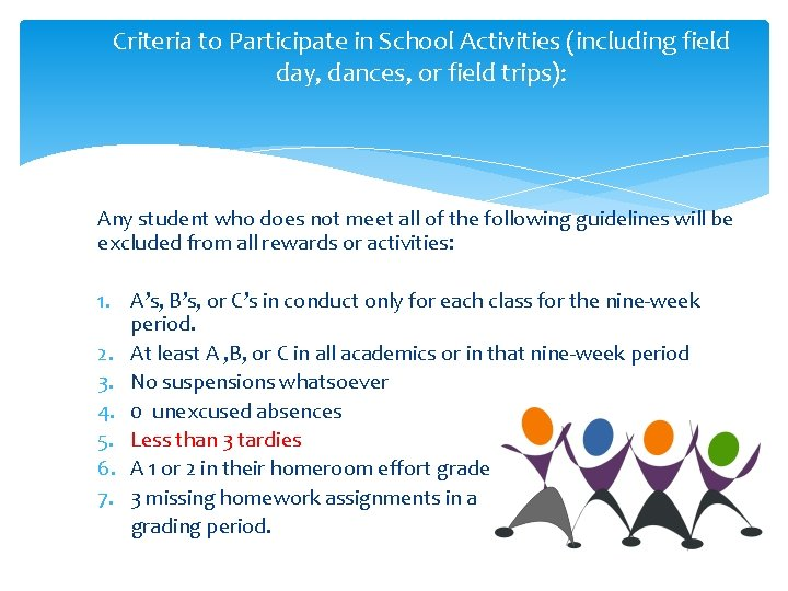 Criteria to Participate in School Activities (including field day, dances, or field trips): Any