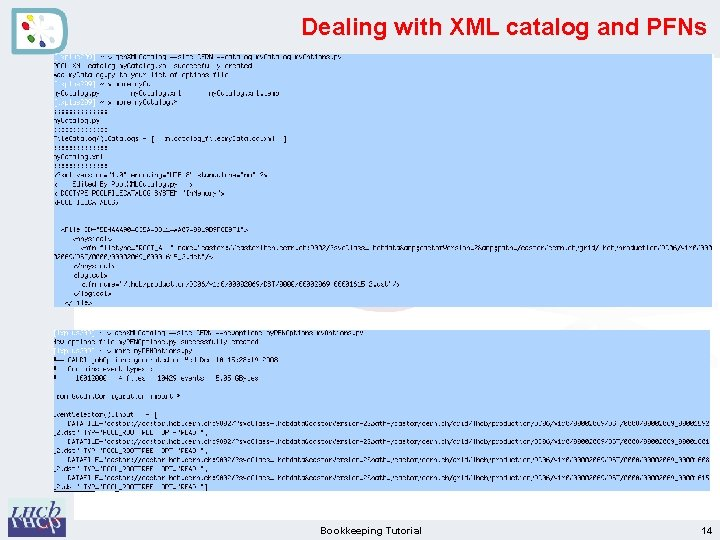 Dealing with XML catalog and PFNs Bookkeeping Tutorial 14