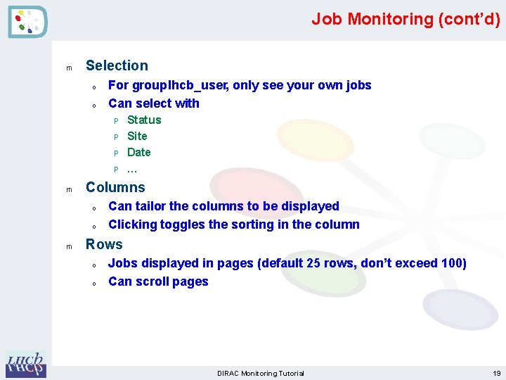 Job Monitoring (cont'd) m Selection o o For group lhcb_user, only see your own