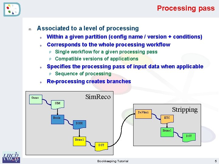 Processing pass m Associated to a level of processing o o Within a given