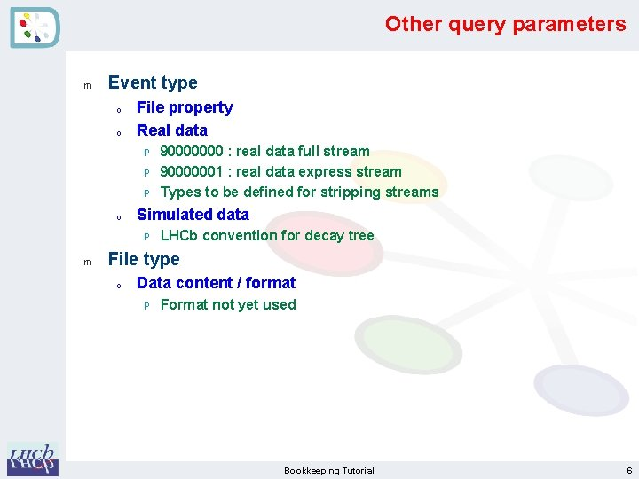 Other query parameters m Event type o o File property Real data P P
