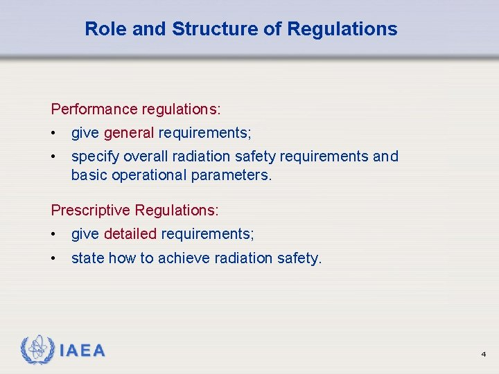 Role and Structure of Regulations Performance regulations: • give general requirements; • specify overall