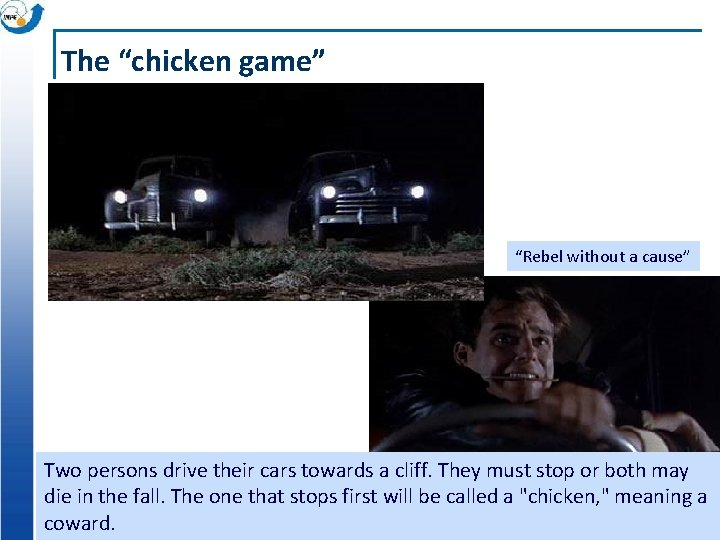 """The """"chicken game"""" """"Rebel without a cause"""" Two persons drive their cars towards a"""