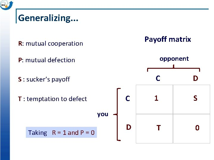Generalizing. . . Payoff matrix R: mutual cooperation opponent P: mutual defection C D