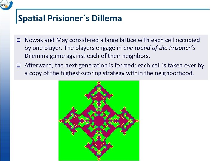 Spatial Prisioner´s Dillema q q Nowak and May considered a large lattice with each