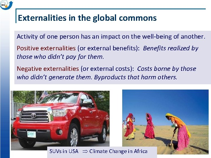 Externalities in the global commons Activity of one person has an impact on the