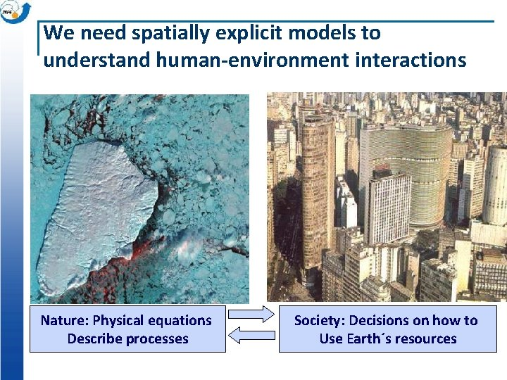 We need spatially explicit models to understand human-environment interactions Nature: Physical equations Describe processes