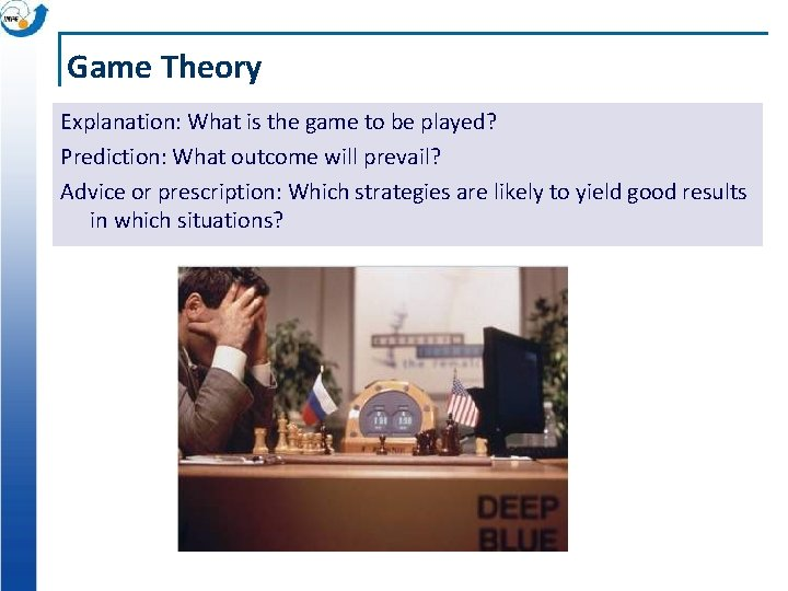 Game Theory Explanation: What is the game to be played? Prediction: What outcome will