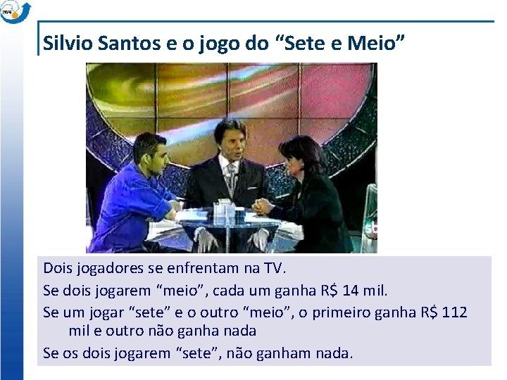 """Silvio Santos e o jogo do """"Sete e Meio"""" Dois jogadores se enfrentam na"""