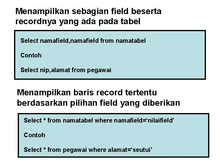Menampilkan sebagian field beserta recordnya yang ada pada tabel Select namafield, namafield from namatabel