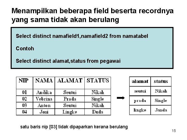 Menampilkan beberapa field beserta recordnya yang sama tidak akan berulang Select distinct namafield 1,