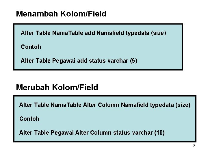 Menambah Kolom/Field Alter Table Nama. Table add Namafield typedata (size) Contoh Alter Table Pegawai