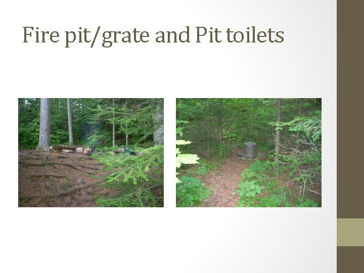 Fire pit/grate and Pit toilets