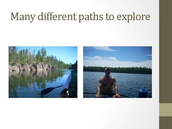 Many different paths to explore