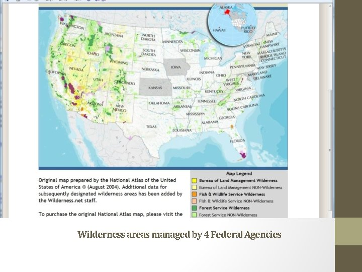 Wilderness areas managed by 4 Federal Agencies