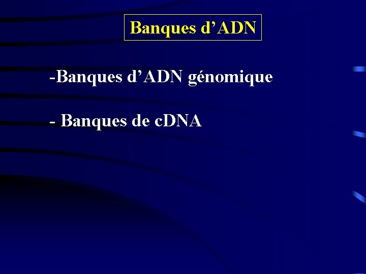 Banques d'ADN -Banques d'ADN génomique - Banques de c. DNA