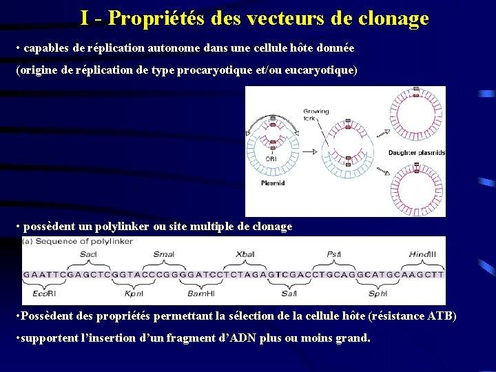 I - Propriétés des vecteurs de clonage • capables de réplication autonome dans une