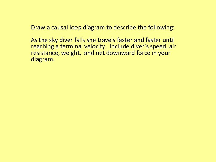 Draw a causal loop diagram to describe the following: As the sky diver falls