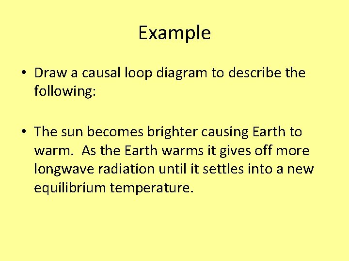 Example • Draw a causal loop diagram to describe the following: • The sun