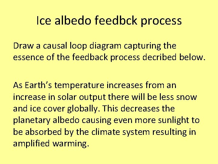 Ice albedo feedbck process Draw a causal loop diagram capturing the essence of the