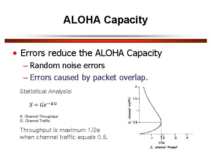 ALOHA Capacity • Errors reduce the ALOHA Capacity – Random noise errors – Errors