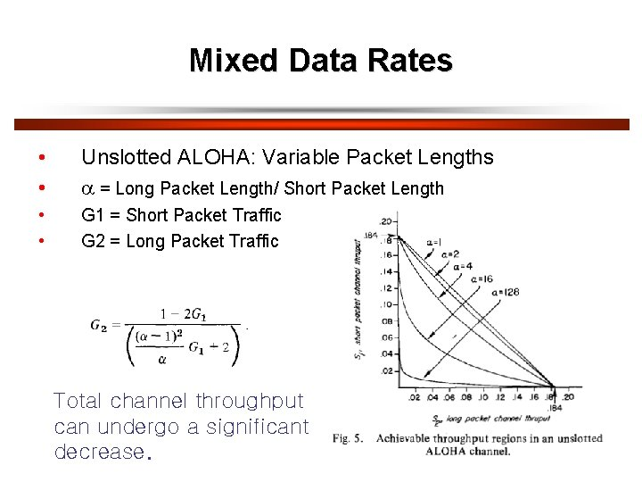 Mixed Data Rates • • Unslotted ALOHA: Variable Packet Lengths = Long Packet Length/