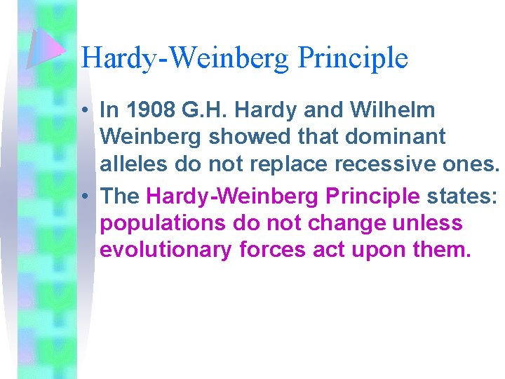 Hardy-Weinberg Principle • In 1908 G. H. Hardy and Wilhelm Weinberg showed that dominant