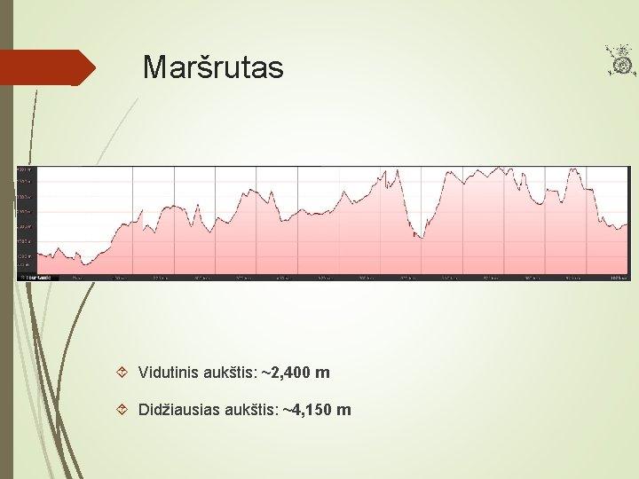 Maršrutas Vidutinis aukštis: ~2, 400 m Didžiausias aukštis: ~4, 150 m